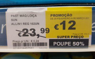 Um mês de pastilhas para a loiça GRÁTIS só por comparar preços