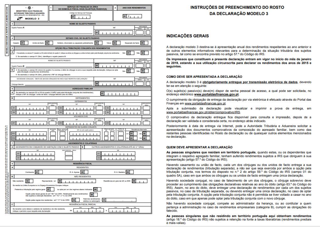 IRS – Modelo 3 – Declaração de IRS de 2018 a ...