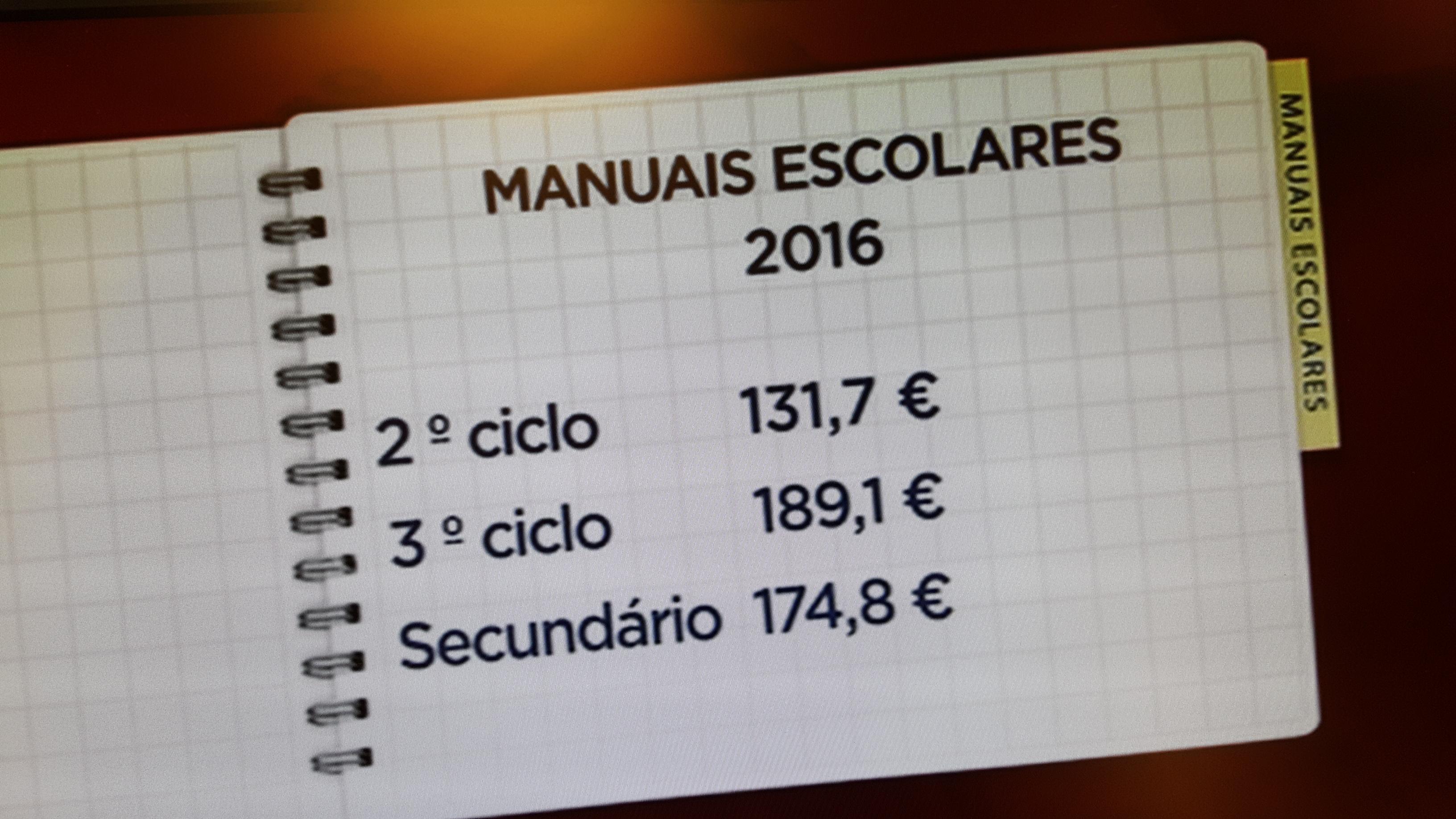 Preços dos manuais escolares 2016