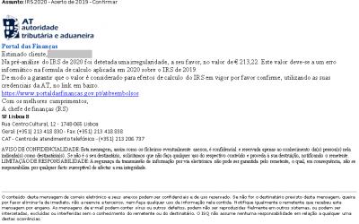 FRAUDE | Fisco alerta para um e-mail falso sobre reembolsos do IRS