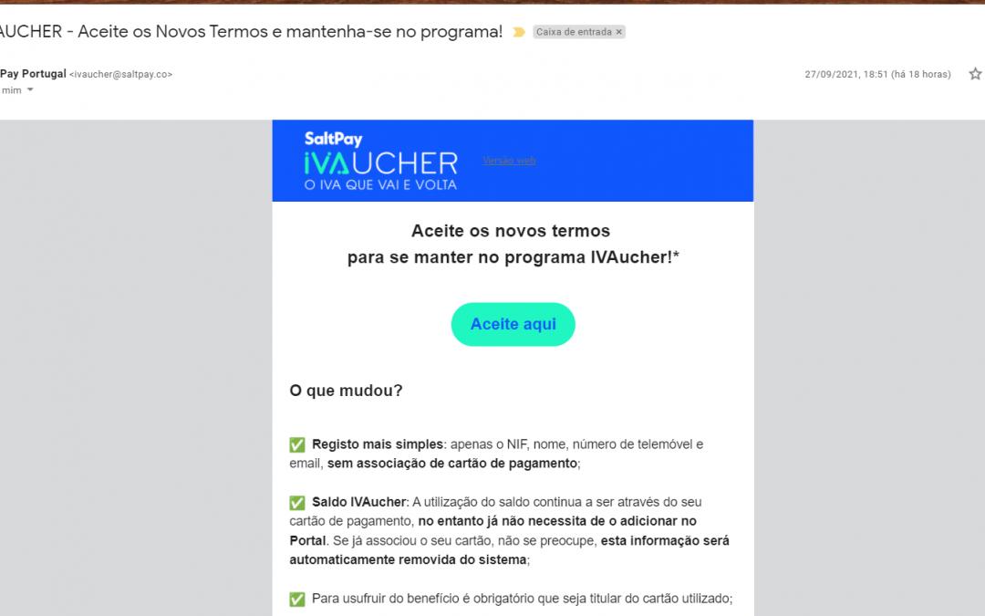 O e-mail da SALT Pay sobre o IVAucher NÃO é falso e tem de o aceitar para usar o saldo